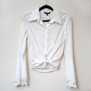 Allen Schwartz Bell Sleeve White Blouse